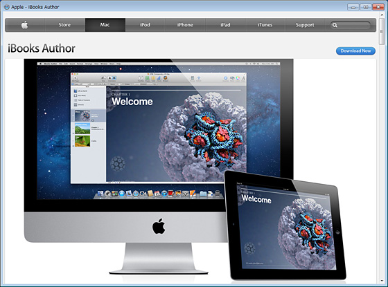 AppleサイトのiBooks Authorページ