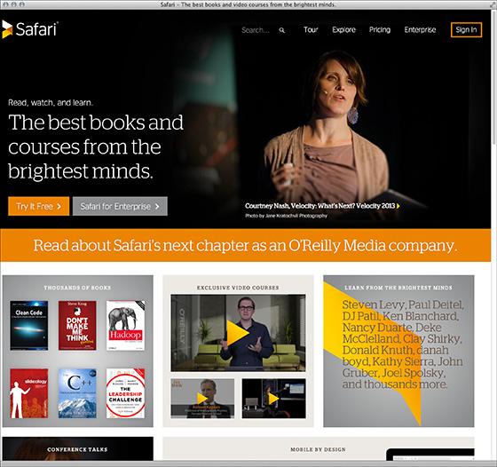 リニューアルしたSafari Books Onlineのトップページ